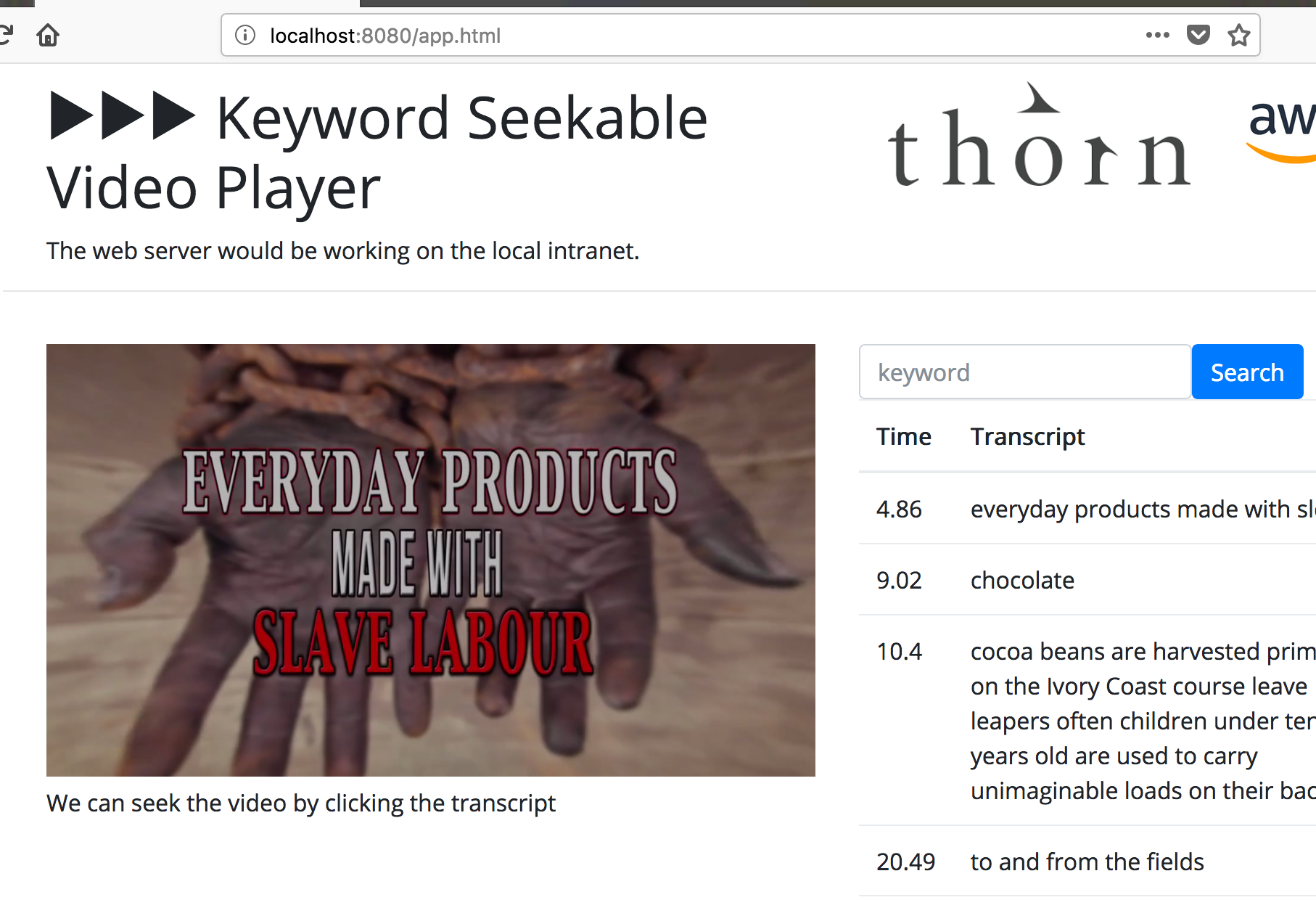 keyword seekable video player