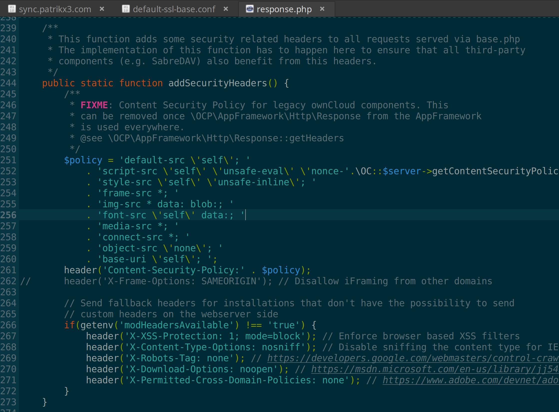 add_header X-Frame-Options SAMEORIGIN is added somewhere in ...