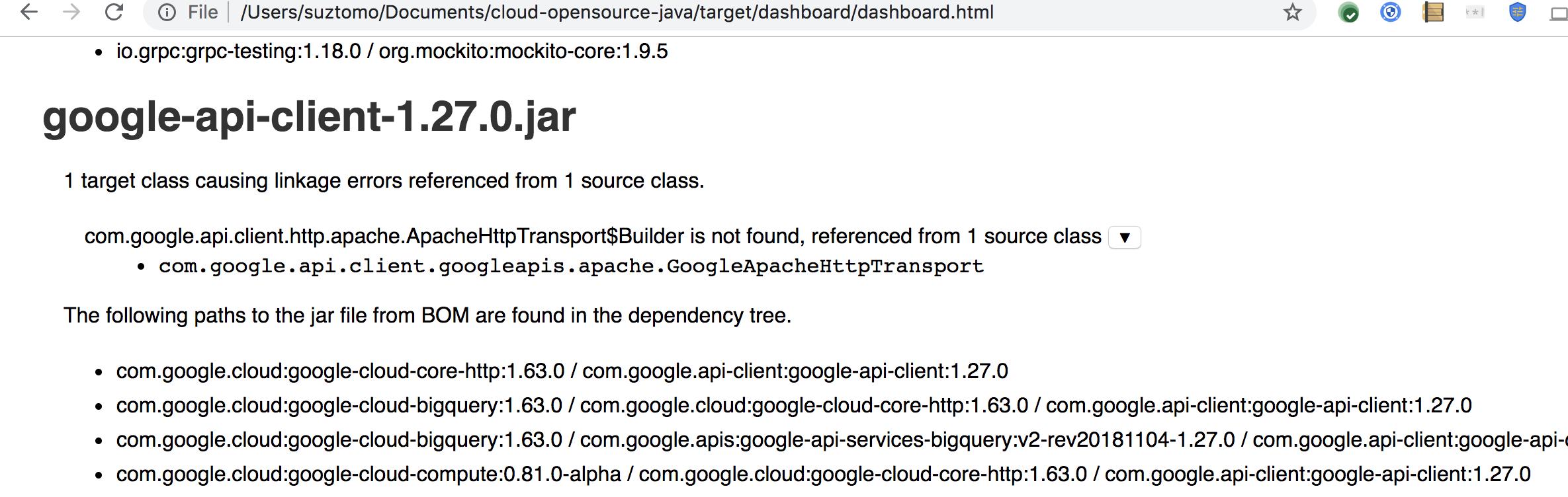 Investigate new linkage error in google-api-client-1 27 0