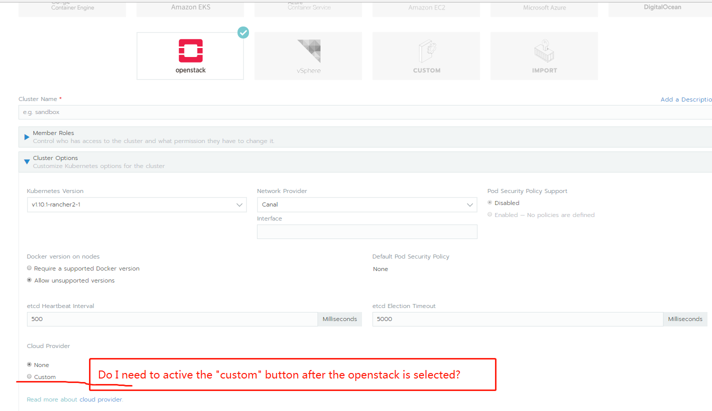 How to deploy a cluster with OpenStack cloud provider