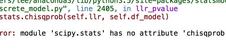 AttributeError: module 'scipy stats' has no attribute 'chisqprob