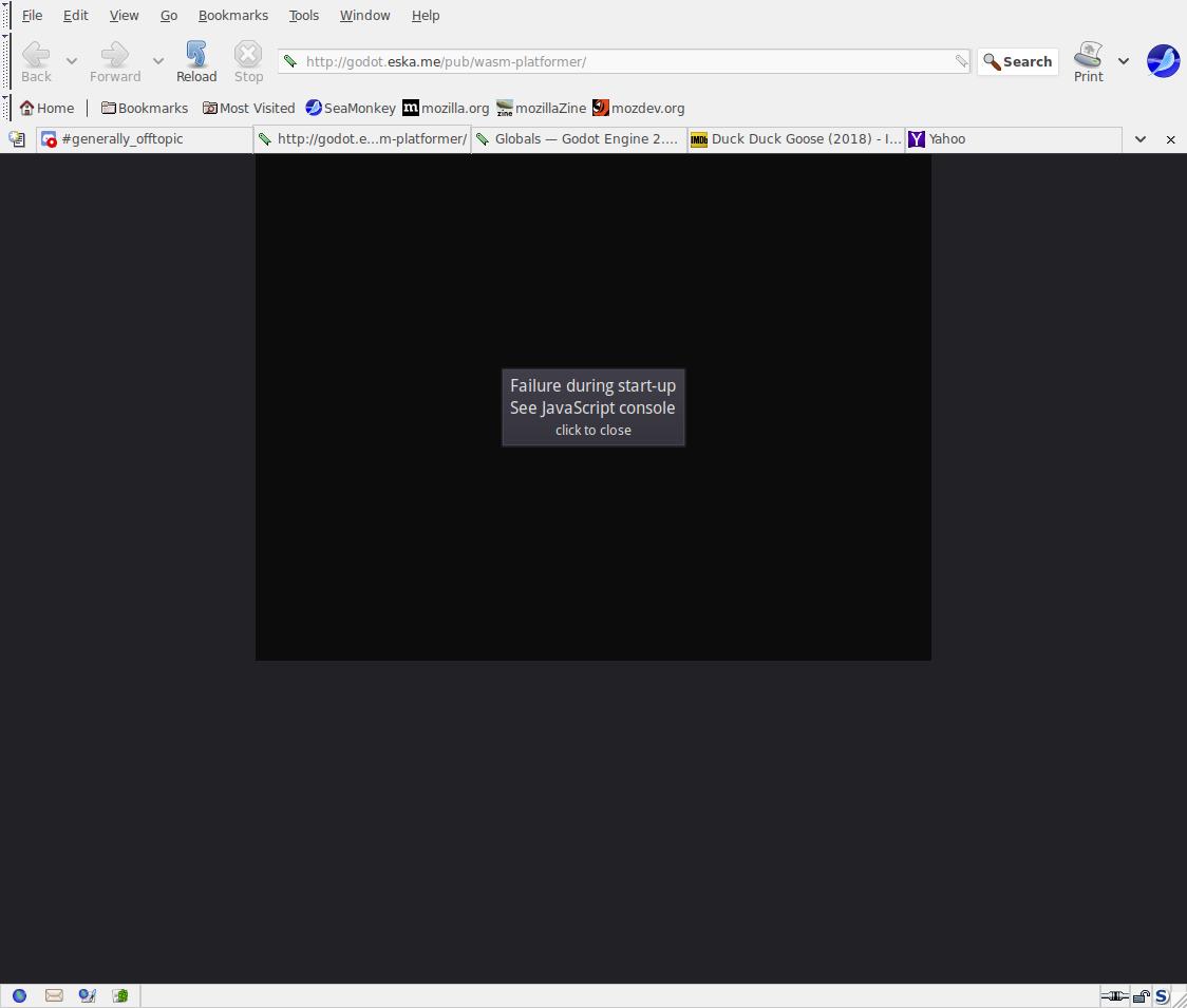 Seamonkey won't run web game! · Issue #44 · godotengine