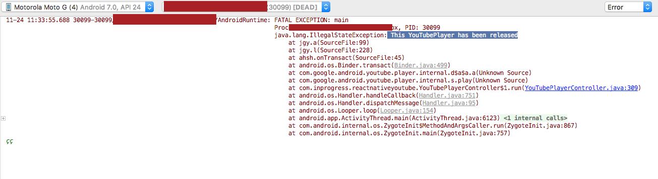 Android crashing in production: java lang