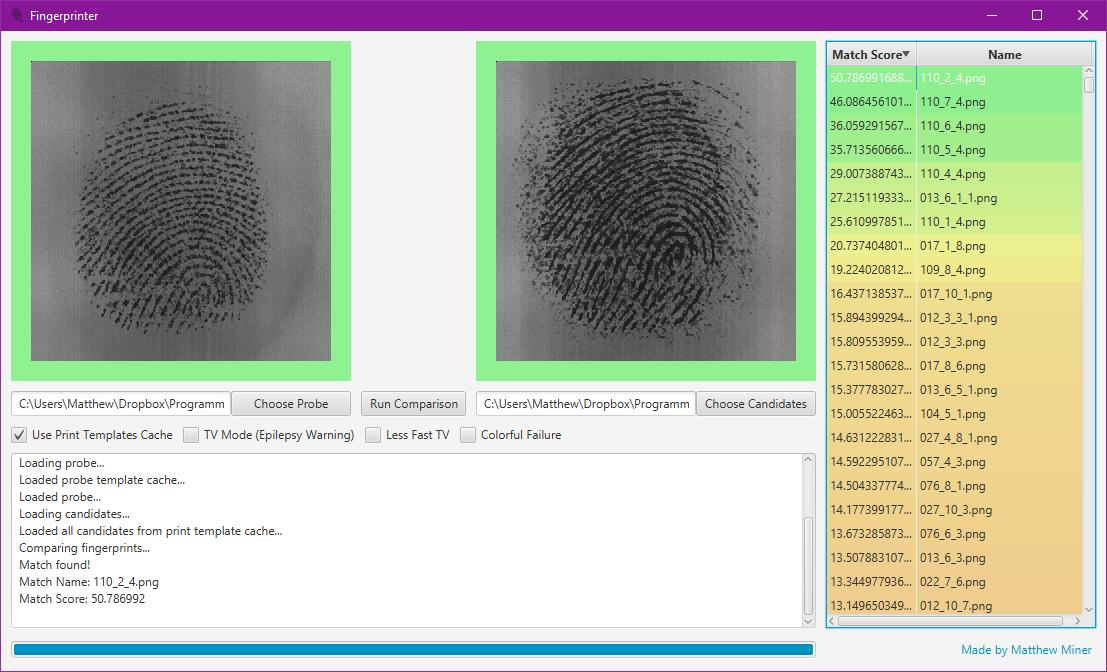Screenshot of Fingerprinter