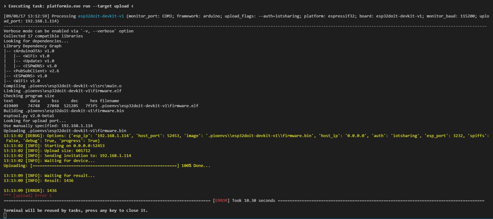 Broken OTA updates since 0 10 0 on Platform io · Issue #612