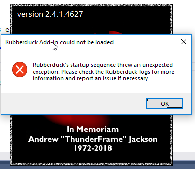 Startup via another Add-In: Unhandled exception · Issue