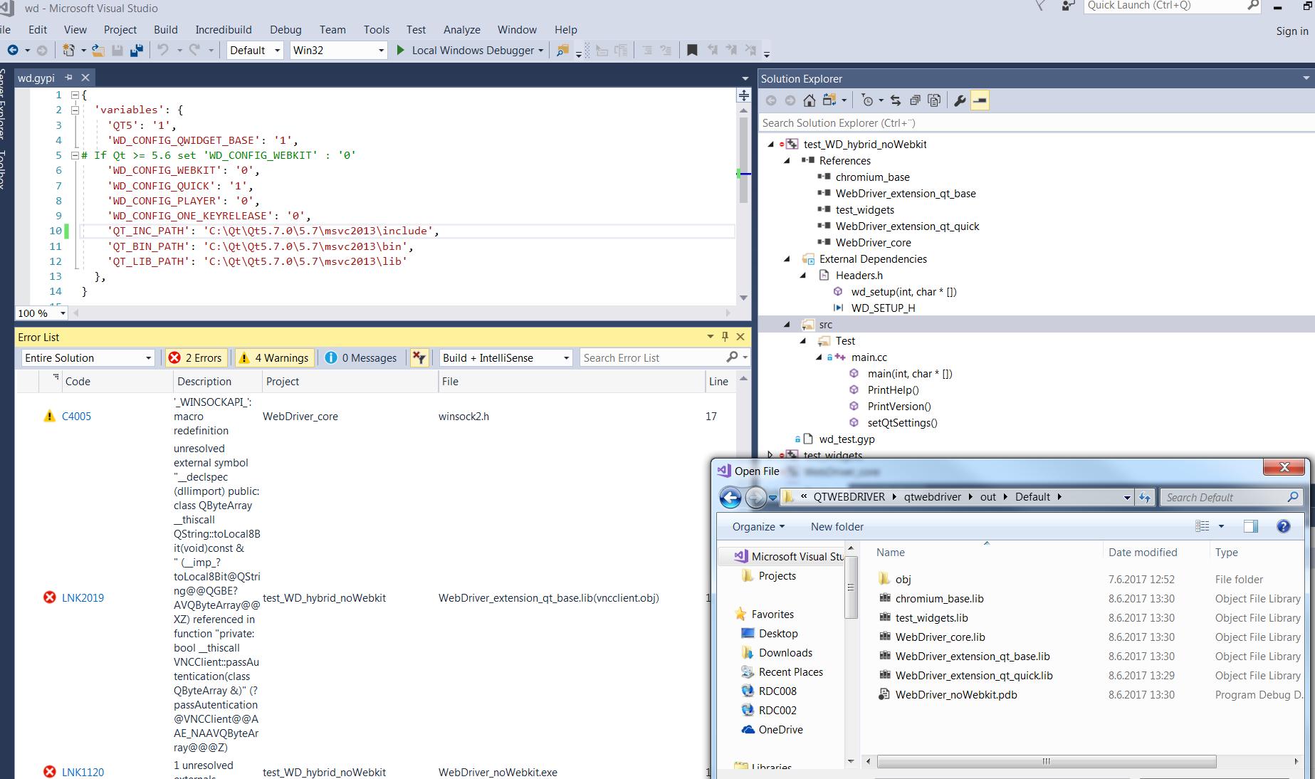 Pre built binaries for windows version webdriver win64 qt57 i tried to build wd i got error unresolved external symbol biocorpaavc