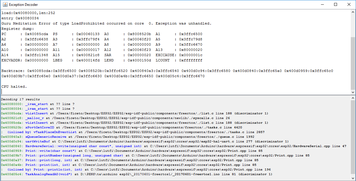FreeRTOS CPU halted · Issue #436 · espressif/arduino-esp32 · GitHub