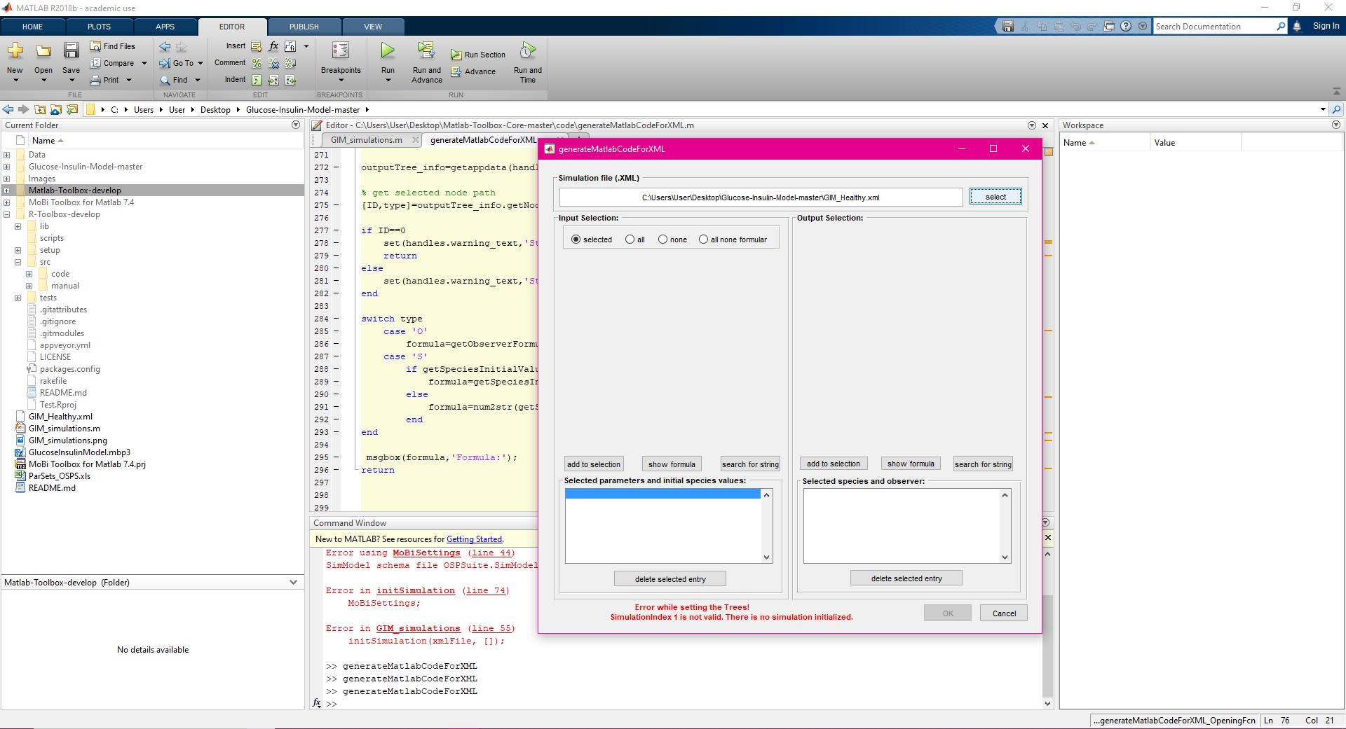 Cannot perform simulation in Matlab, (version 7 4 0), error