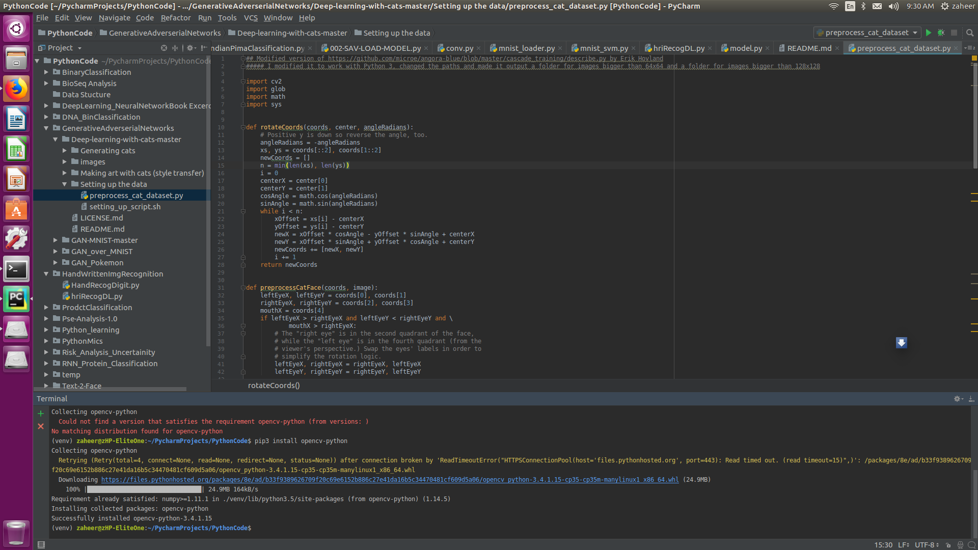 pip install cv2 python ubuntu