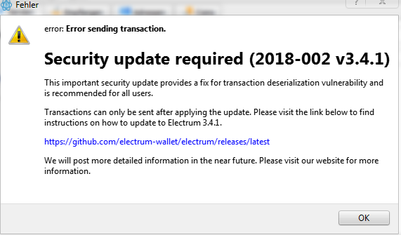 when broadcasting transaction, error message from server is