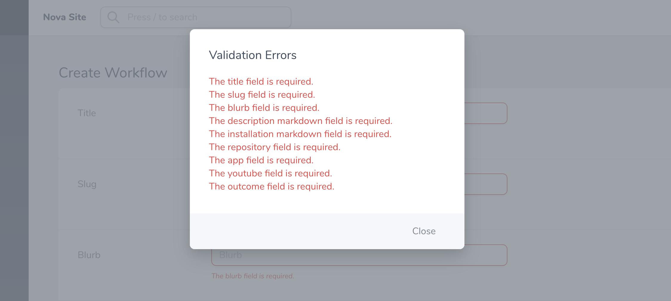 Laravel Nova Validation Error Package