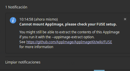 Failed to register AppImage in AppImageLauncherFS: could not