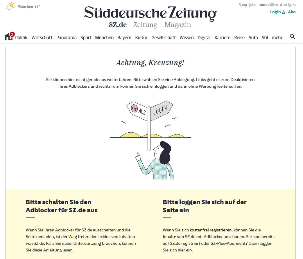 Sueddeutsche De Anti Adblock Is Back Issue 4106