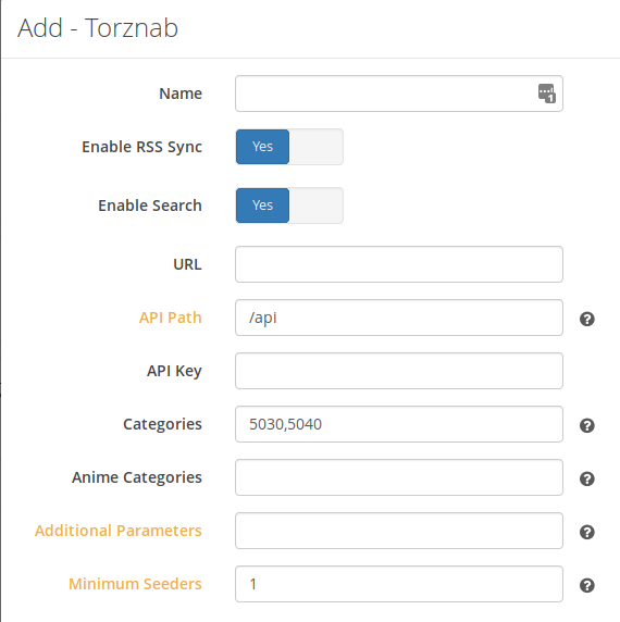 Custom torznab indexer doesn't let you configure the API
