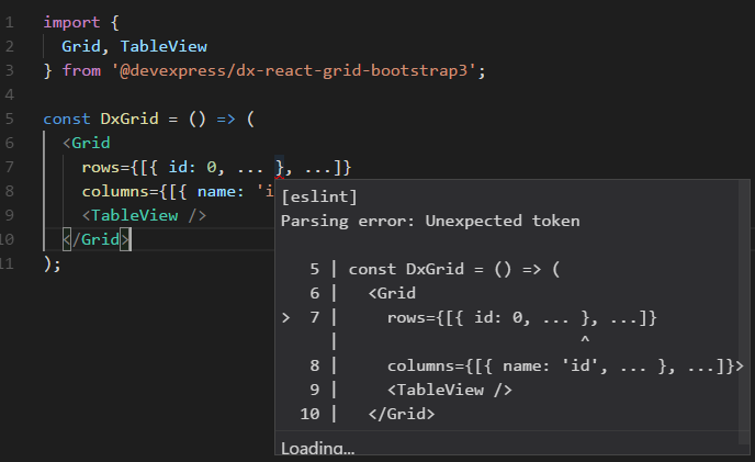 Parsing error: Unexpected token on simple grid example
