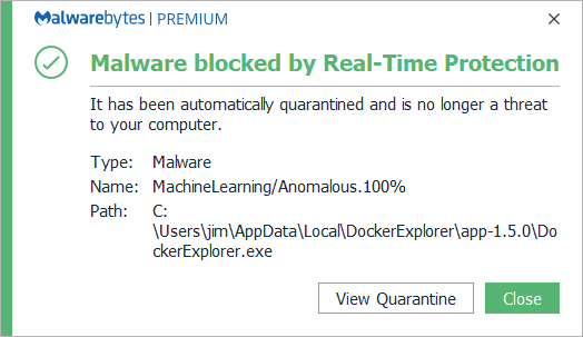 Malwarebytes does not approve · Issue #2 · aloneguid/docker-explorer