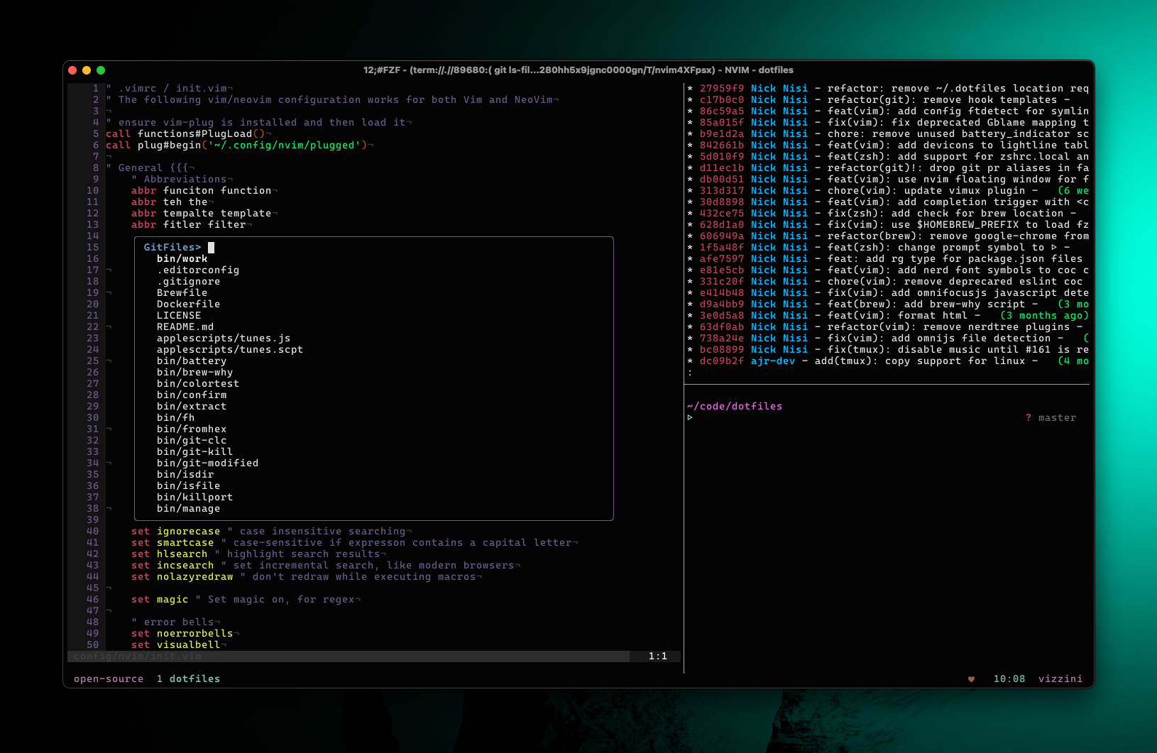 S screenshot of the dotfiles setup