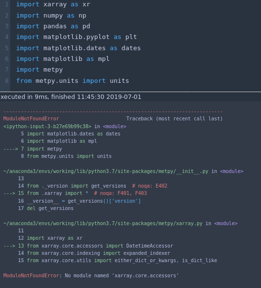 Xarray v0 12 2 (29 June 2019) breaking metpy No module named 'xarray