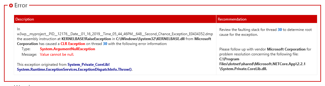 w3wp exe crashes | Faulting module name: KERNELBASE dll, version