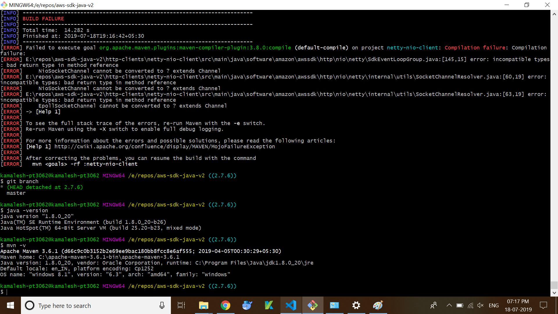 Java Compilation Error in netty-nio-client on version 2 7 6