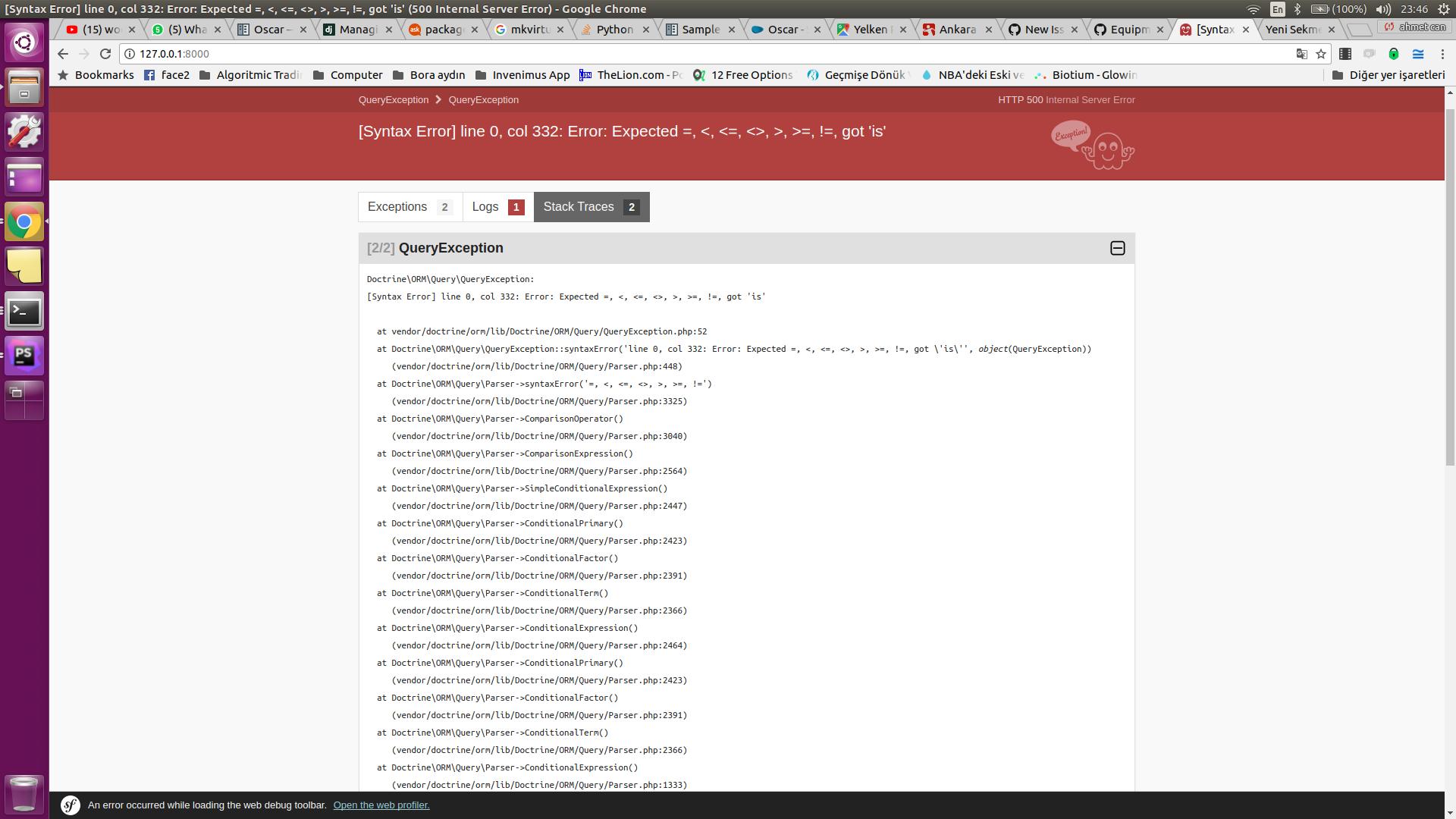 error stack traces