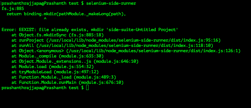 Unable to execute selenium ide tests through terminal