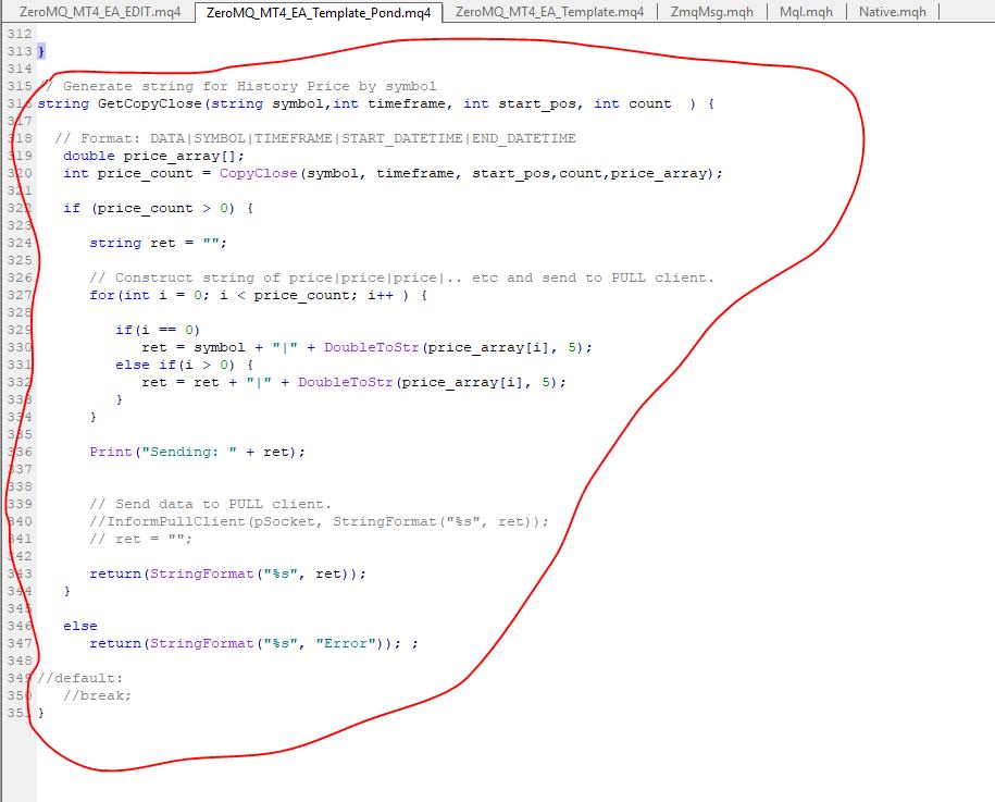 When I receive market information using zeromq, Python see