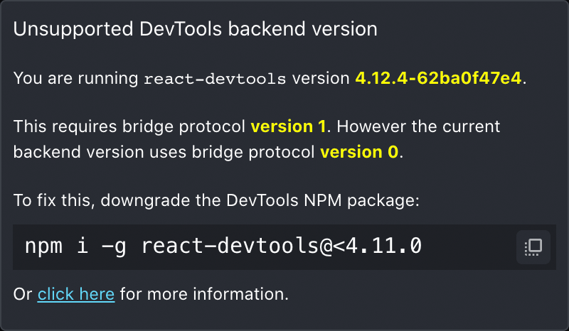 Dialog displaying downgrade instructions for the React DevTools frontend to connect to an older backend version