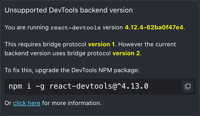 Dialog displaying upgrade instructions for the React DevTools frontend to connect to a newer backend version