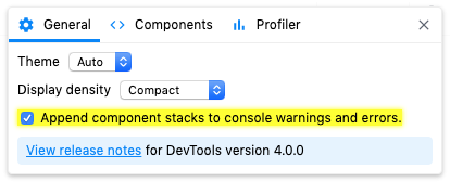"Settings panel showing ""component stacks"" option"