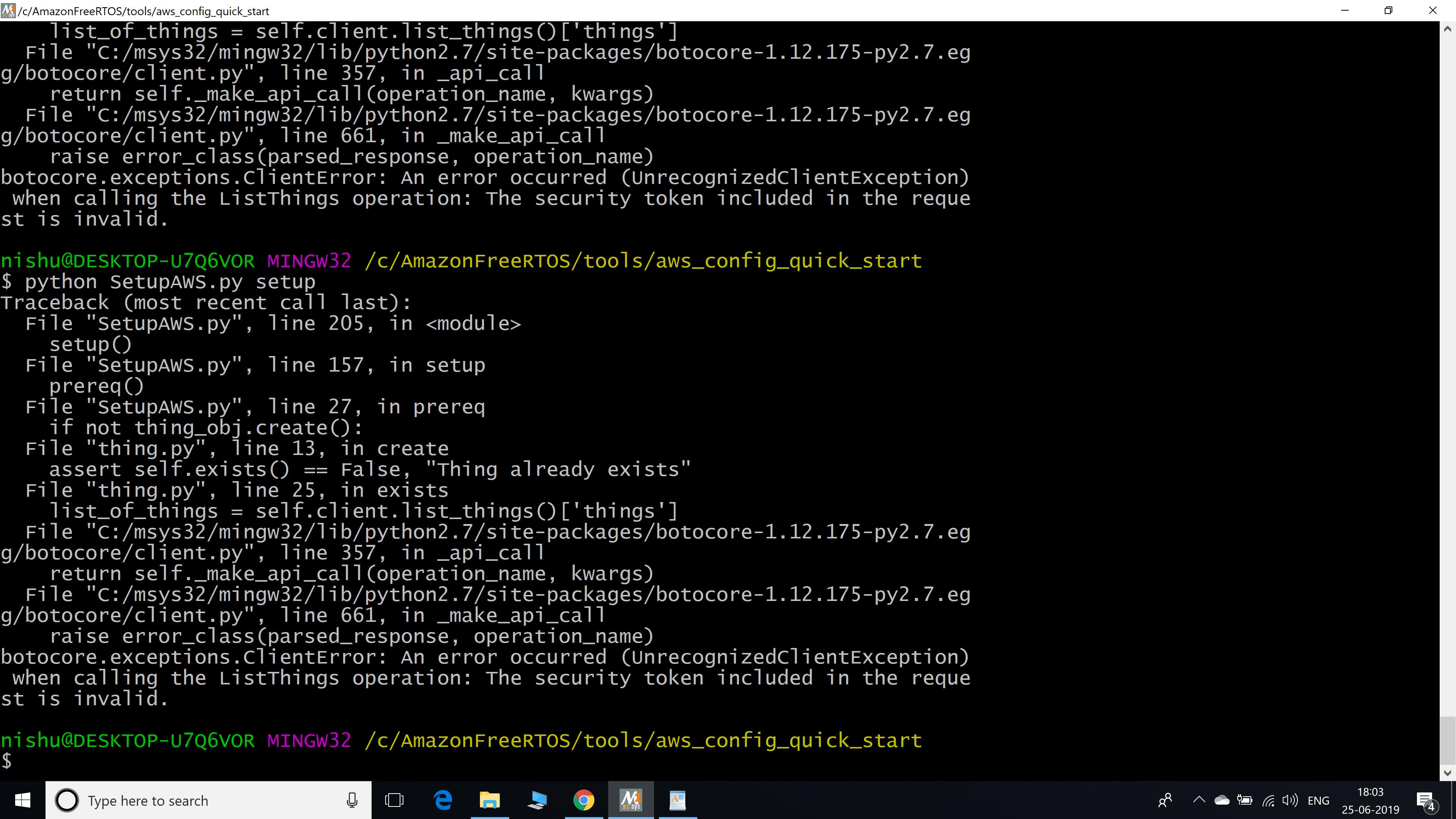 Error while running 'python SetupAWS py setup' · Issue #841 · aws