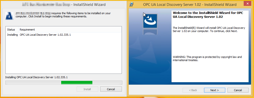 The installation of OPC UA Local Discovery Server 1 03