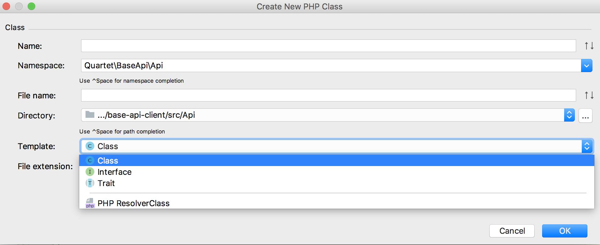 CreateNewPHPClassでTemplateとしてPHP ResolverClassを選ぶ