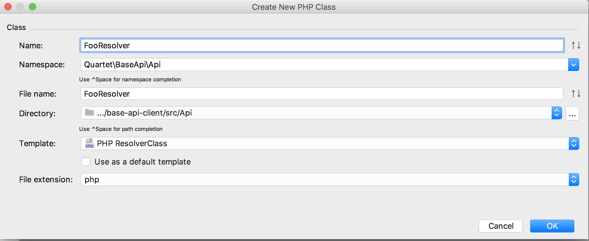 CreateNewPHPClassでnameにFooResolver TemplateにPHP ResolverClassを選んだところ