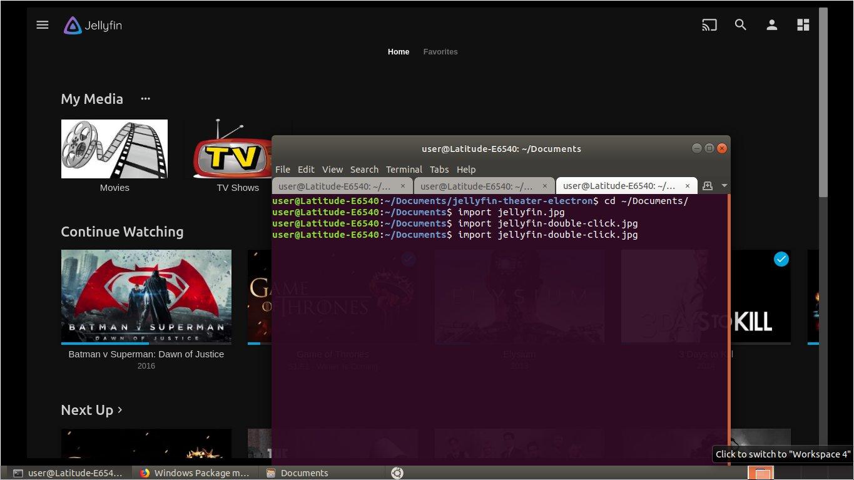 JellyFin Theater App will not full-screen properly - Ubuntu/Debian