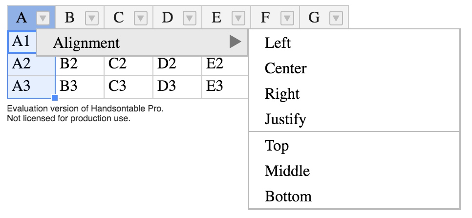 Dropdown option for just horizontal alignment? · Issue #5027