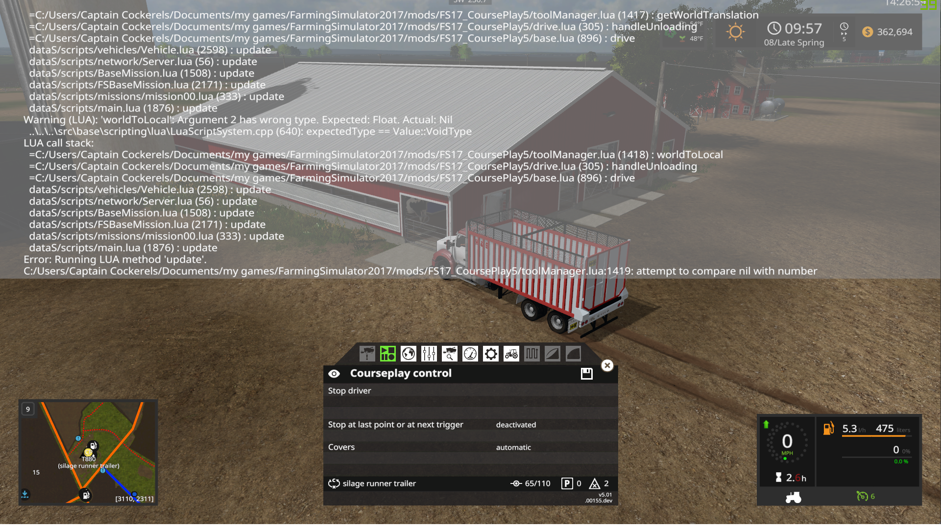 Fs17 Game freezing when truck reaches tip trigger · Issue