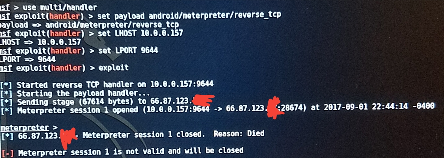 Android MeterPreter Session 'Died' After Sending Stage Trying to