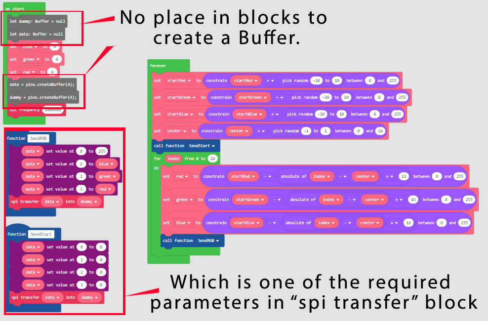 Add blocks to set a buffer variable to use in the SPI block · Issue