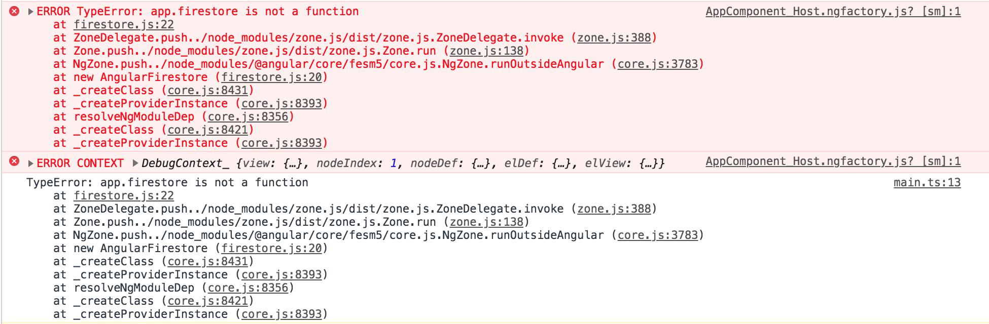 TypeError: app firestore is not a function after updating to