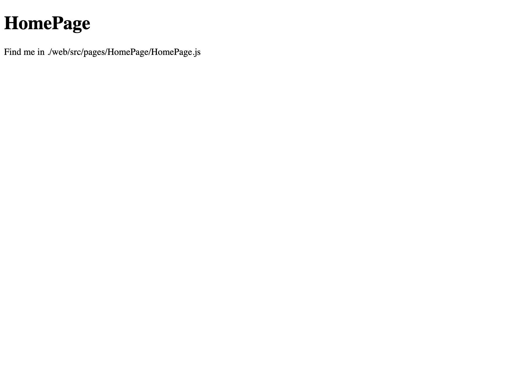 Default HomePage render