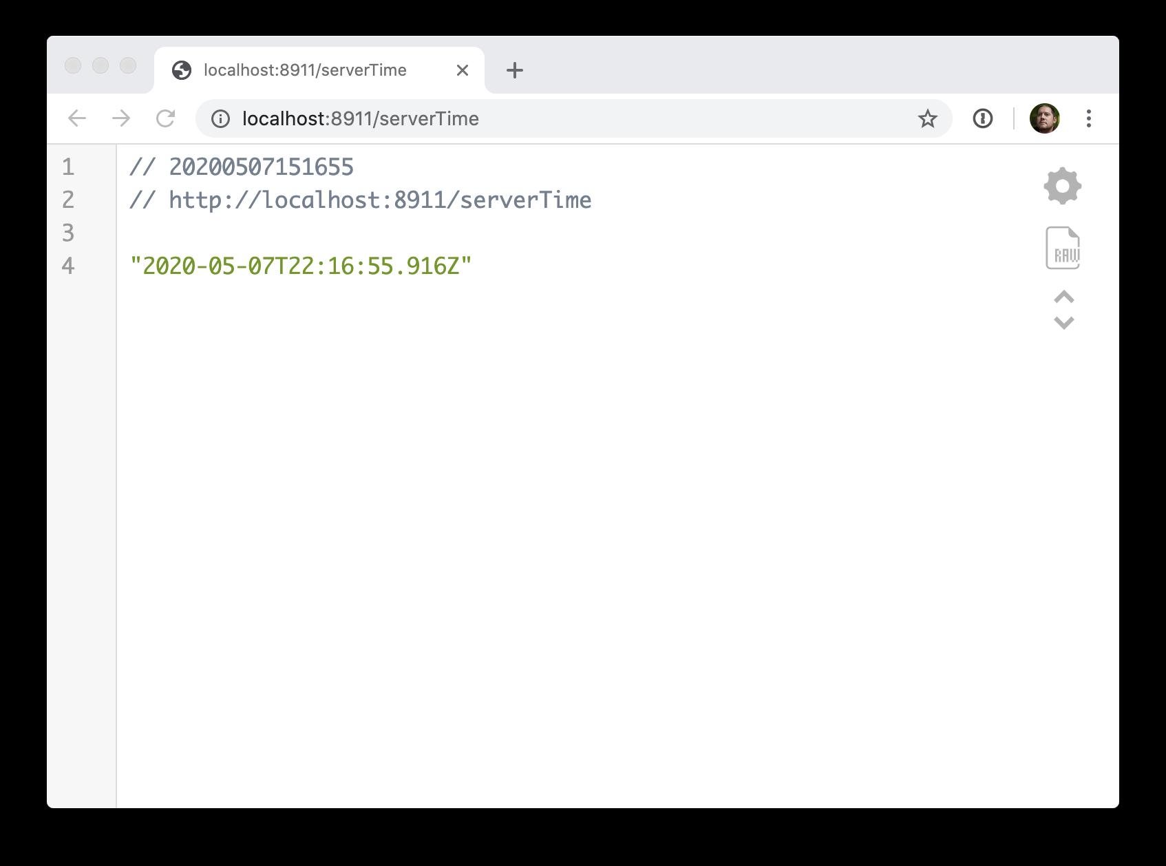 Time output screenshot