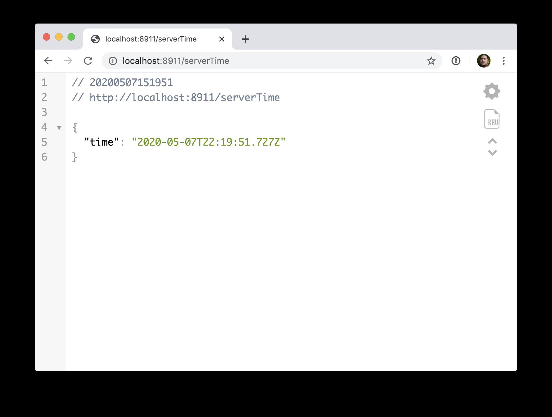 JSON time output screenshot