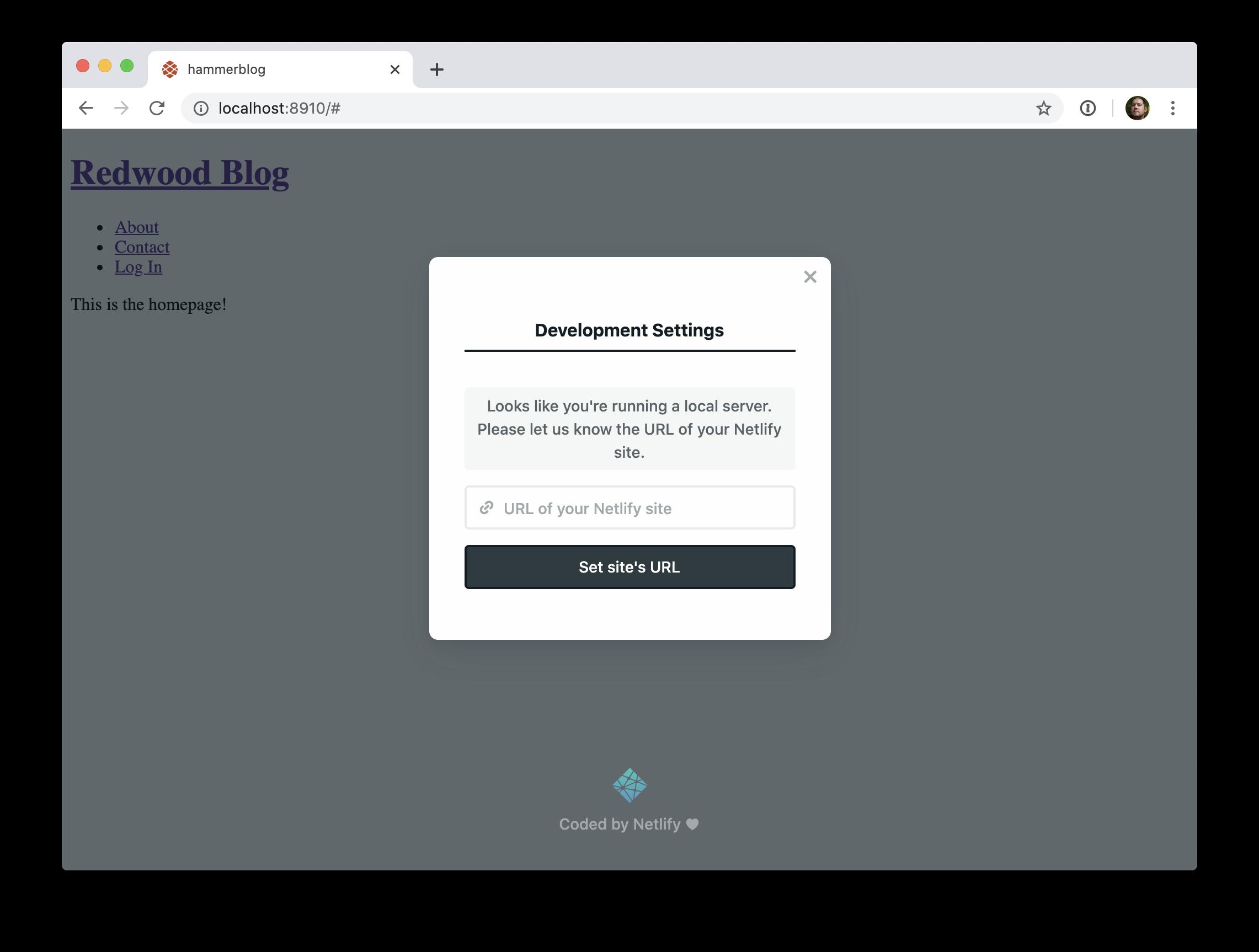 Netlify Identity Widget modal