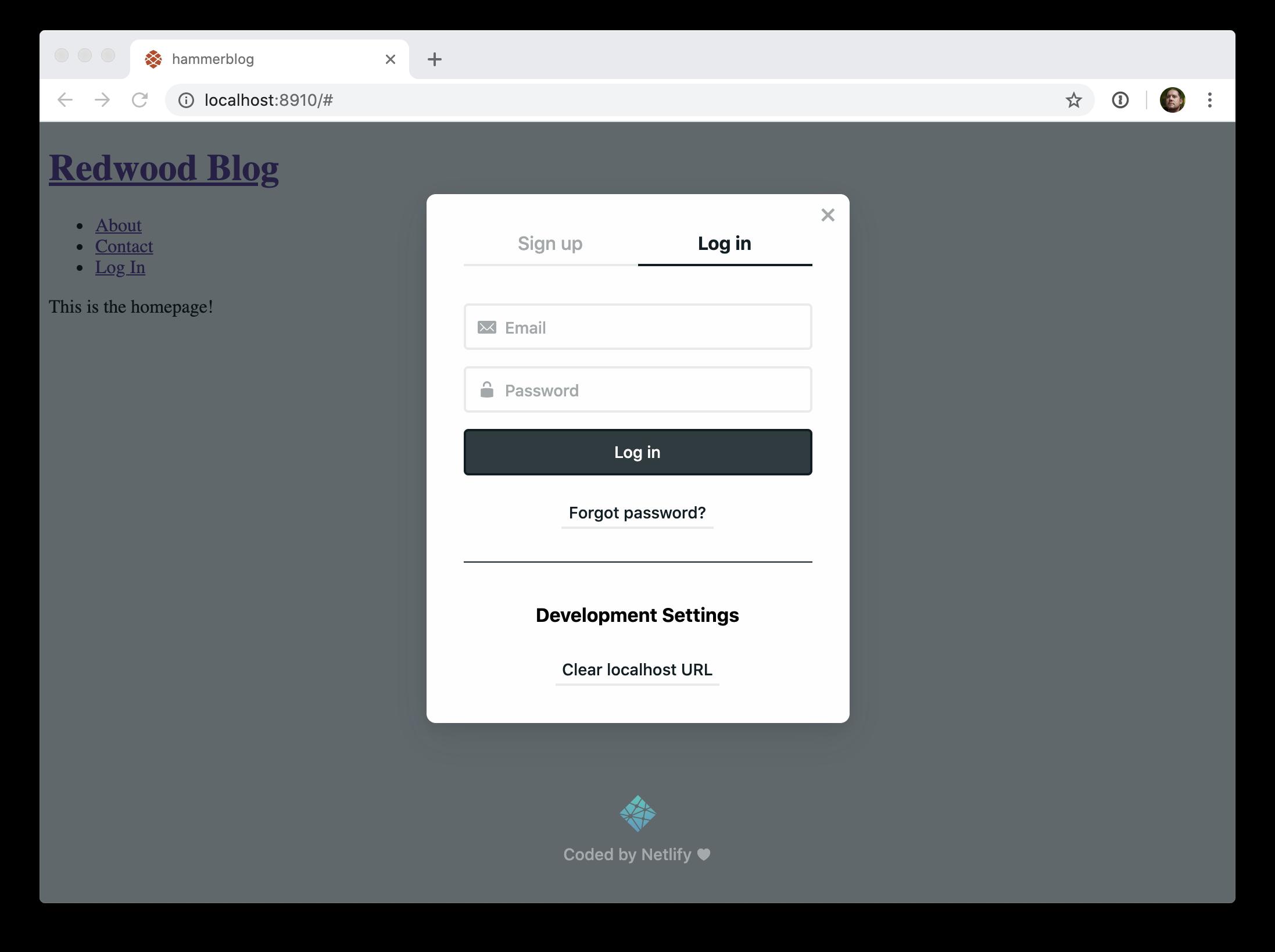 Netlify identity widget login