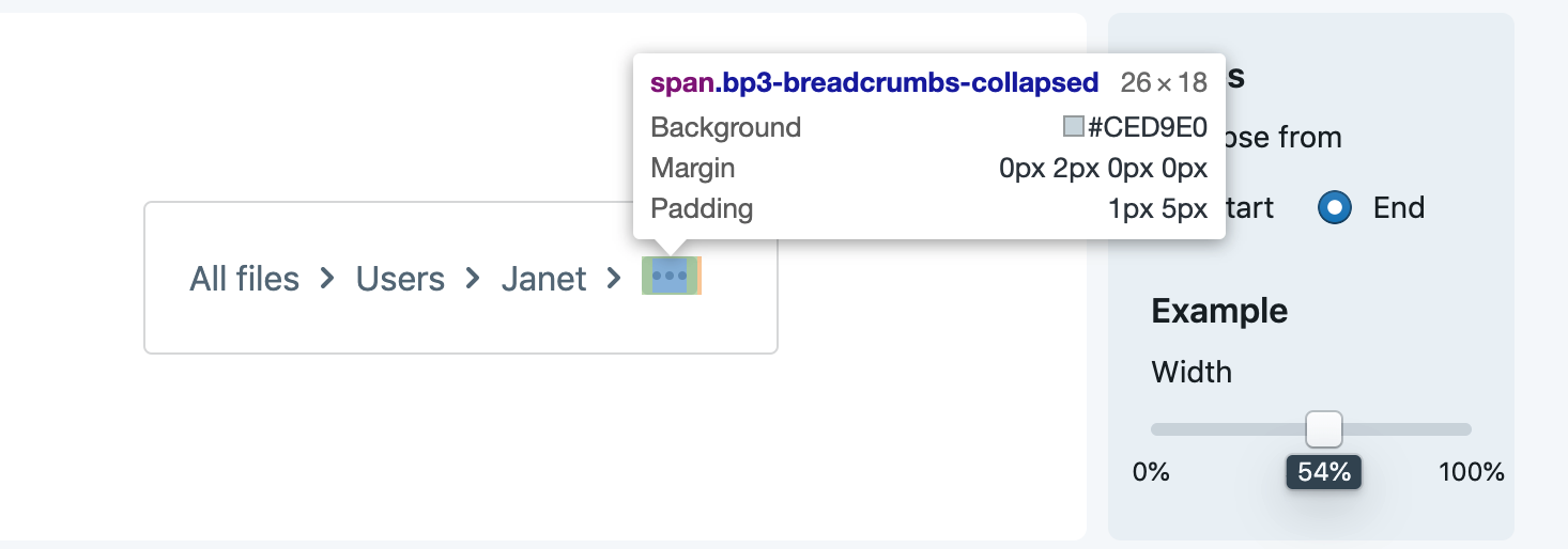 Collapsed overflow list elements have additional padding on