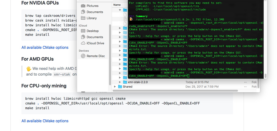 Compiling and running with AMD under OS X · Issue #862 · fireice-uk