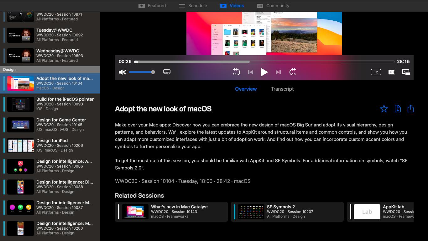WWDC App Full Screen