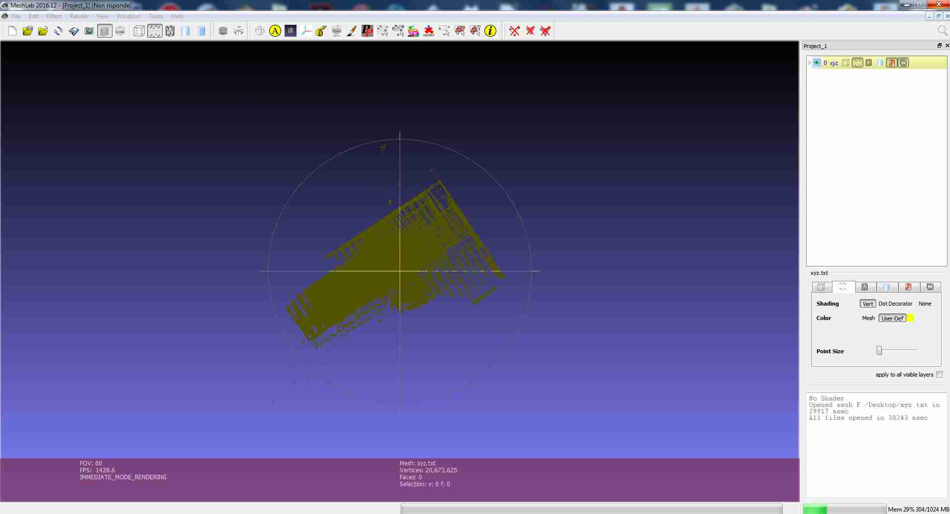 FREEZE loading large X Y Z 3d scanner Point Cloud · Issue
